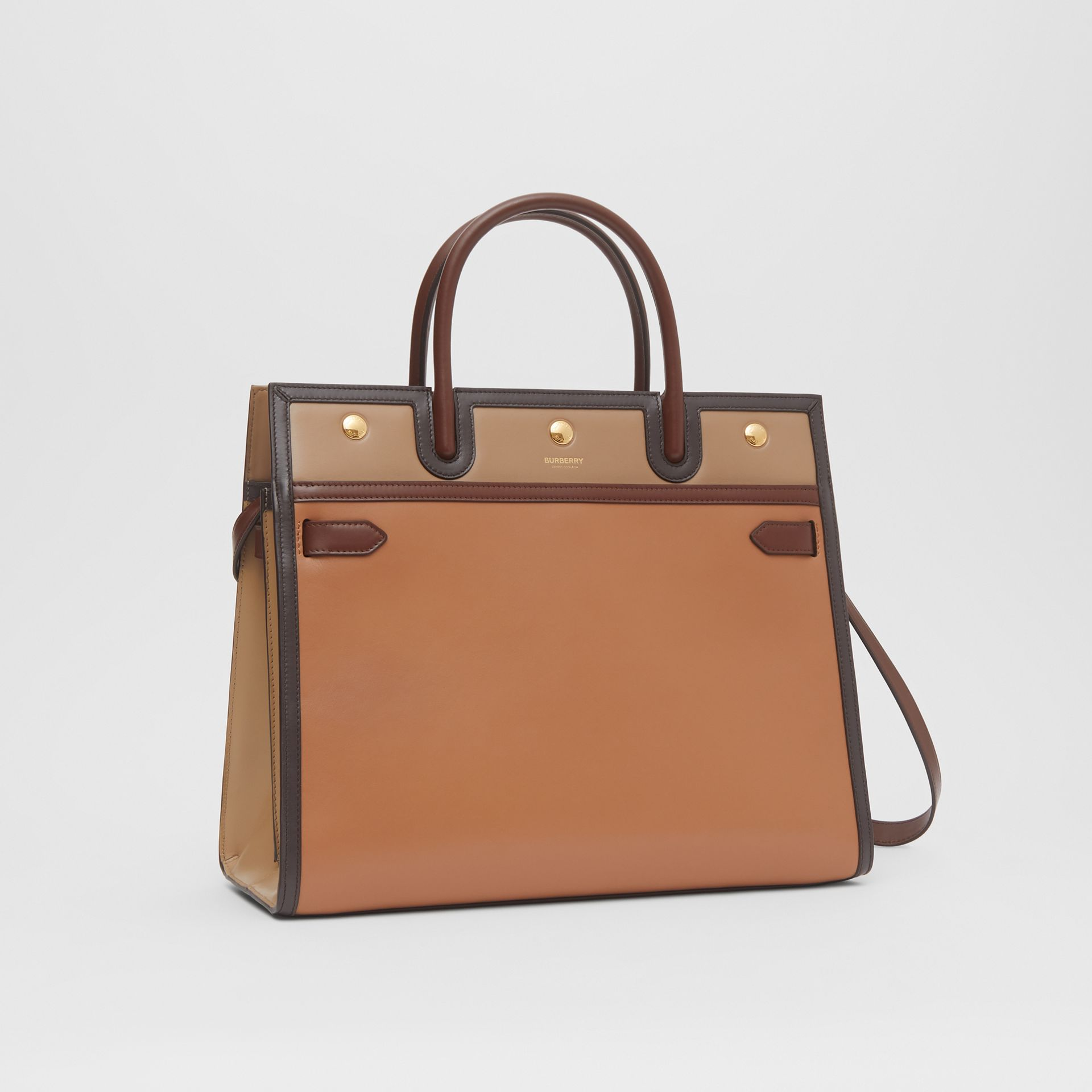 Medium Colour Block Leather Two-handle Title Bag in Soft Fawn - Women | Burberry United States - gallery image 6