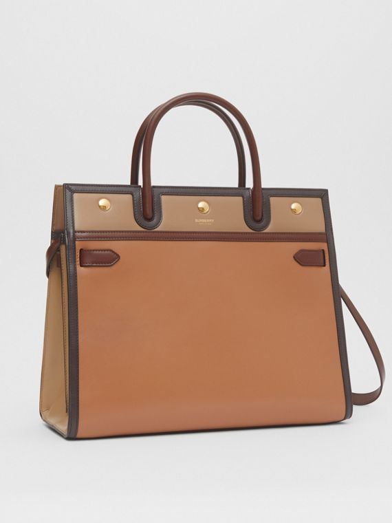 Medium Panelled Leather Two-handle Title Bag in Soft Fawn