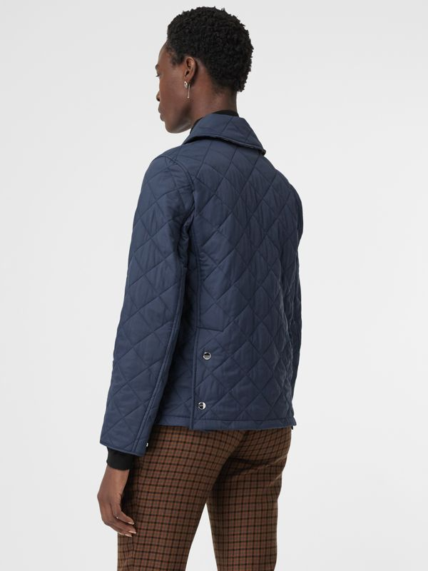 Embroidered Crest Diamond Quilted Jacket in Navy - Women | Burberry Singapore - cell image 2