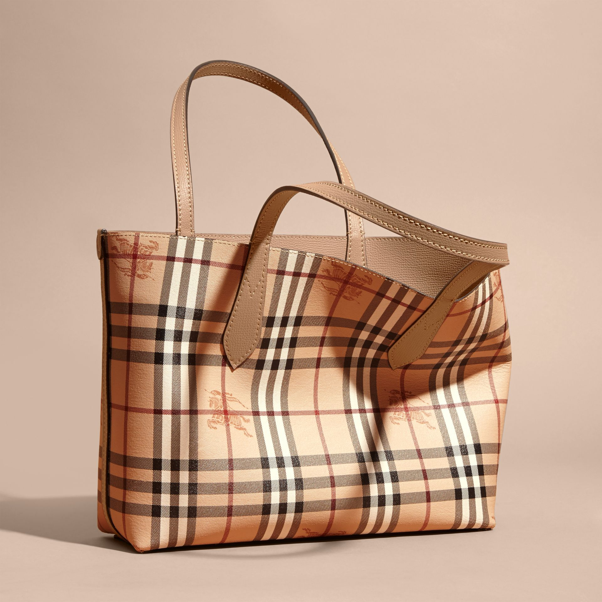 The Small Reversible Tote in Haymarket Check and Leather Mid Camel - gallery image 8