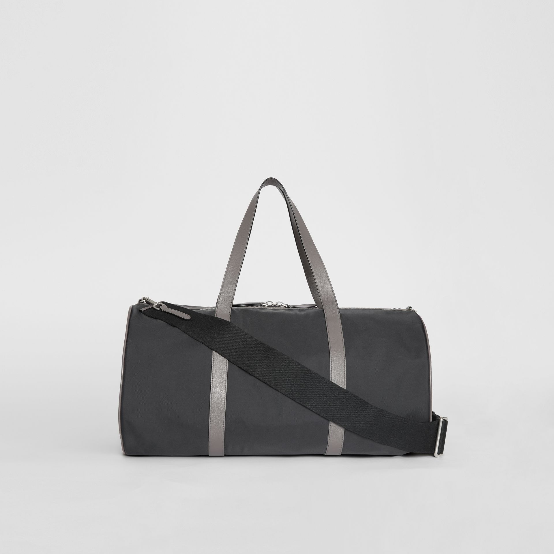 Large Nylon and Vintage Check Barrel Bag in Black - Men | Burberry Canada - gallery image 7