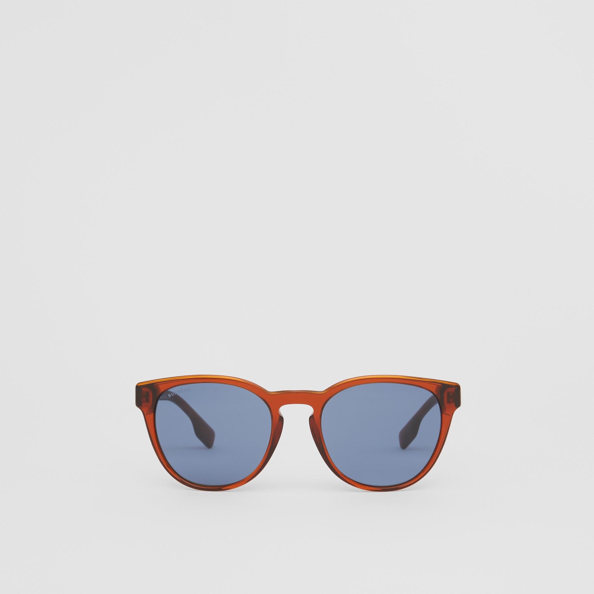 Round Frame Sunglasses in Amber - Men | Burberry Australia - gallery image 0