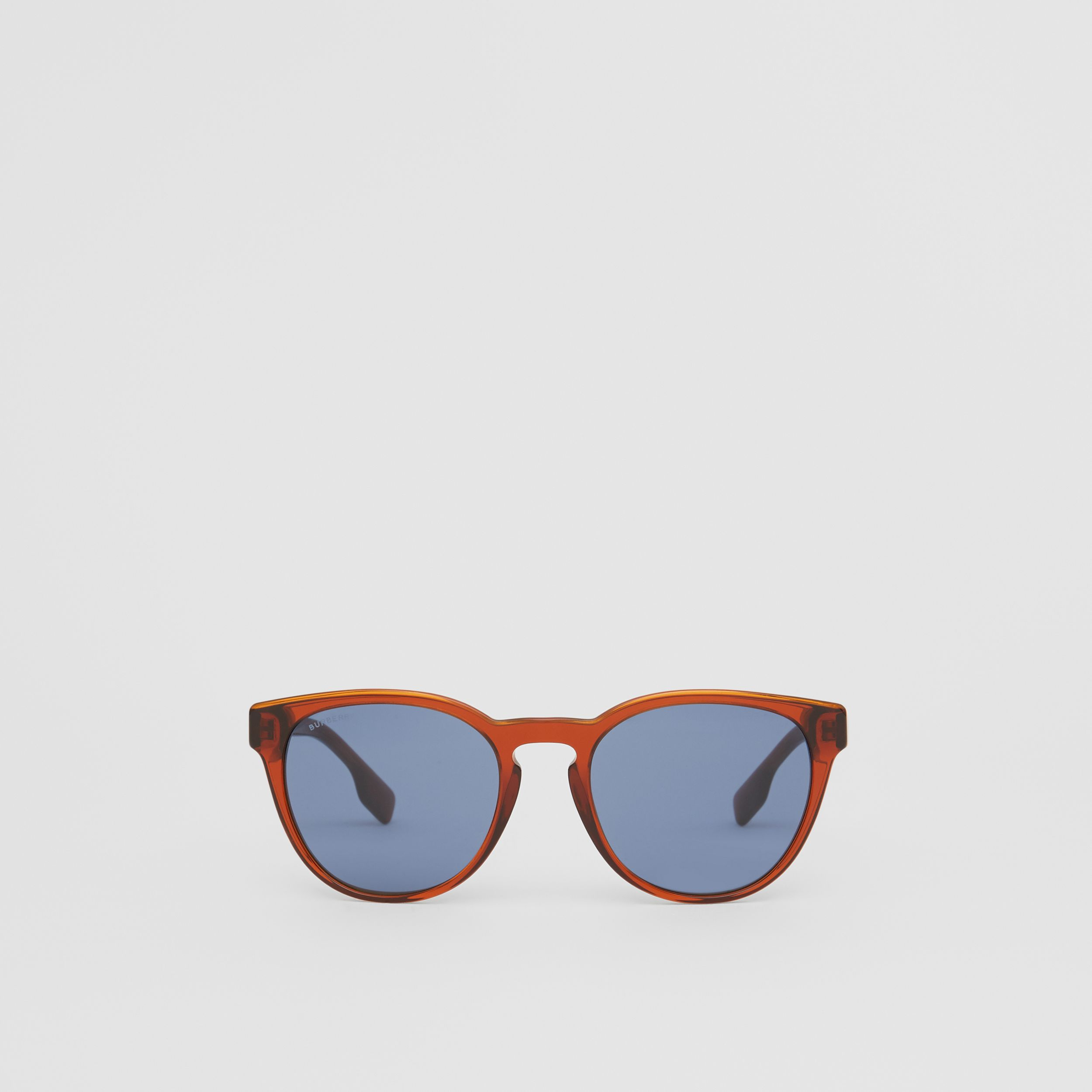 Round Frame Sunglasses in Amber - Men | Burberry - 1