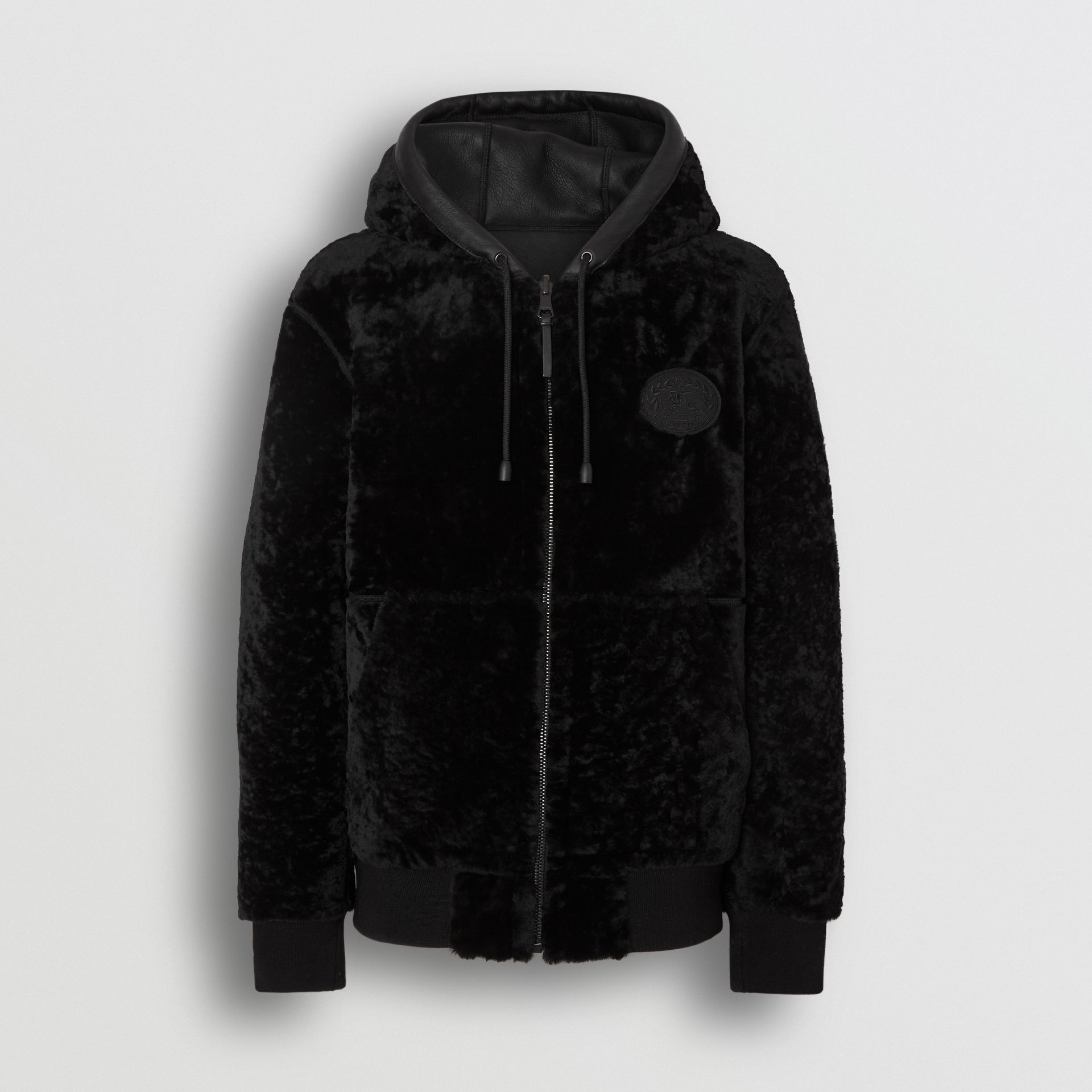 Reversible Shearling Hooded Bomber Jacket in Black - Men | Burberry United Kingdom - gallery image 3