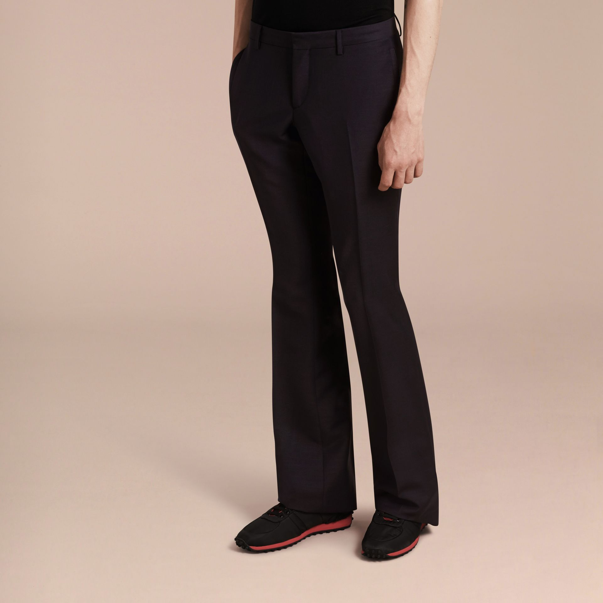Navy Wide Leg Mohair Wool Tailored Trousers - gallery image 6