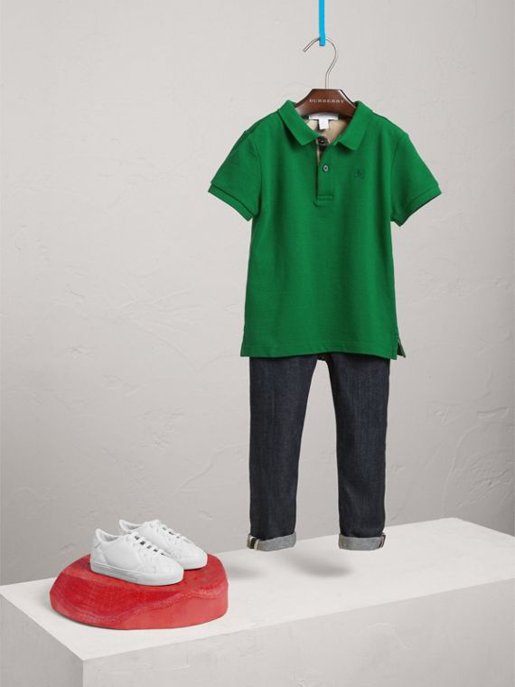 Long-sleeve Cotton Jersey Polo Shirt in Pigment Green