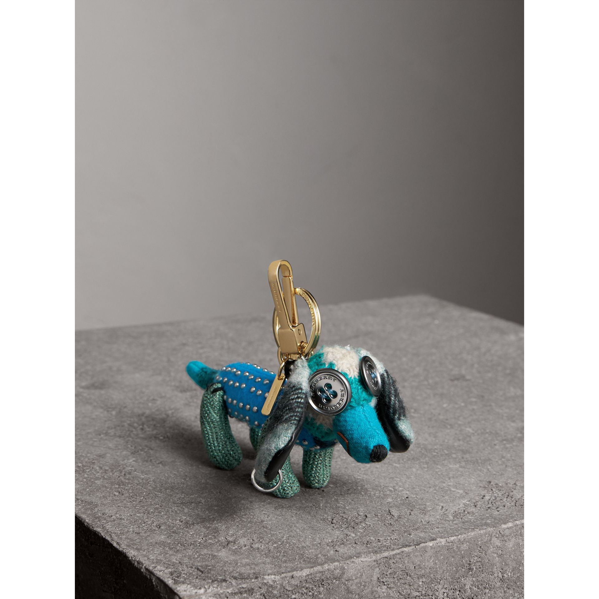Tilly The Sausage Dog Cashmere Charm in Teal Blue | Burberry - gallery image 0