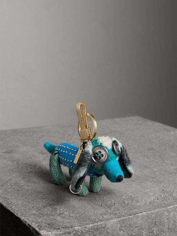 Tilly The Sausage Dog Cashmere Charm in Teal Blue