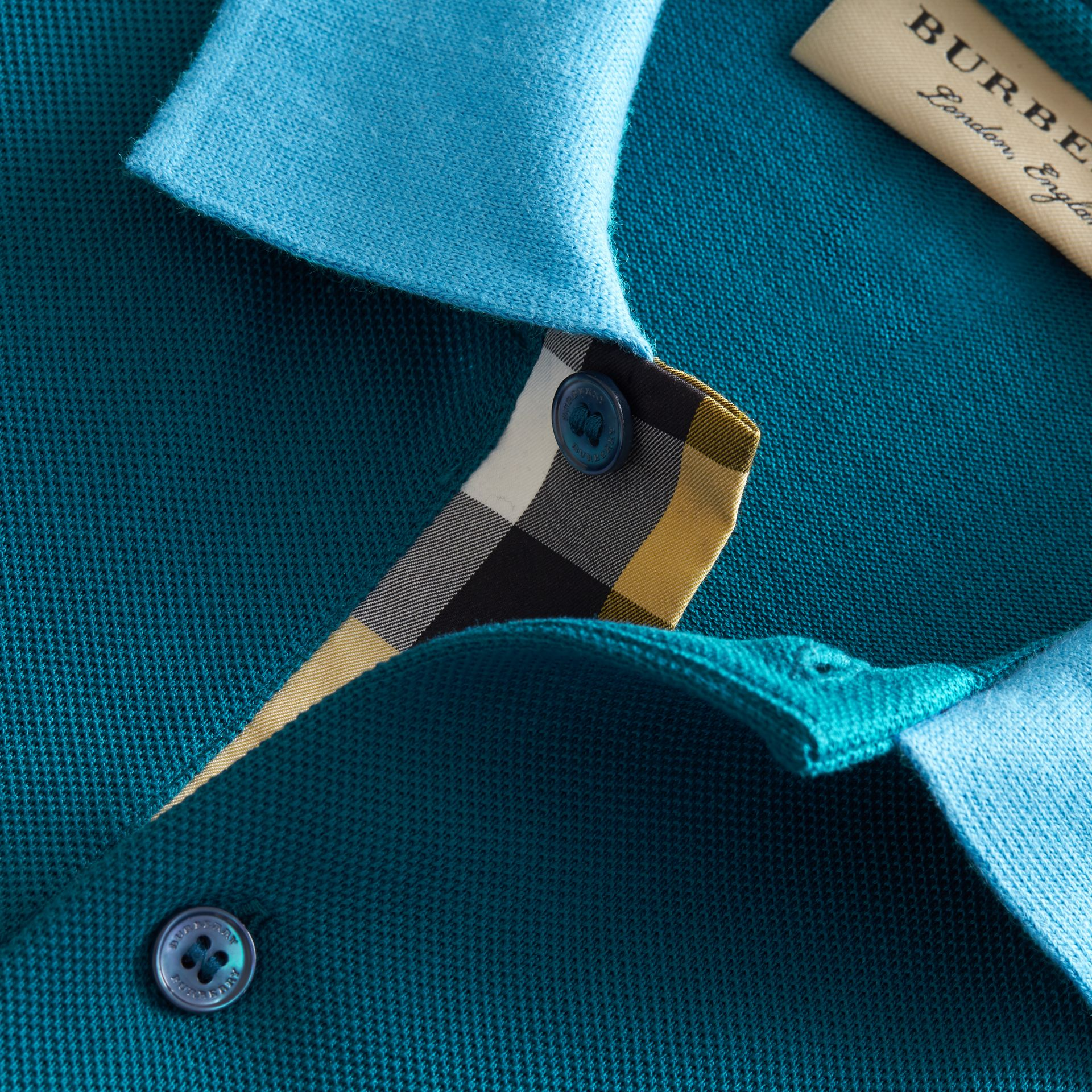 Two-tone Check Placket Cotton Piqué Polo Shirt in Mineral Blue - gallery image 2