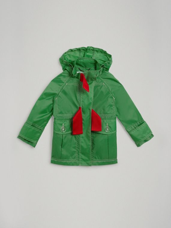 Tape Detail Rain Jacket in Bright Pigment Green