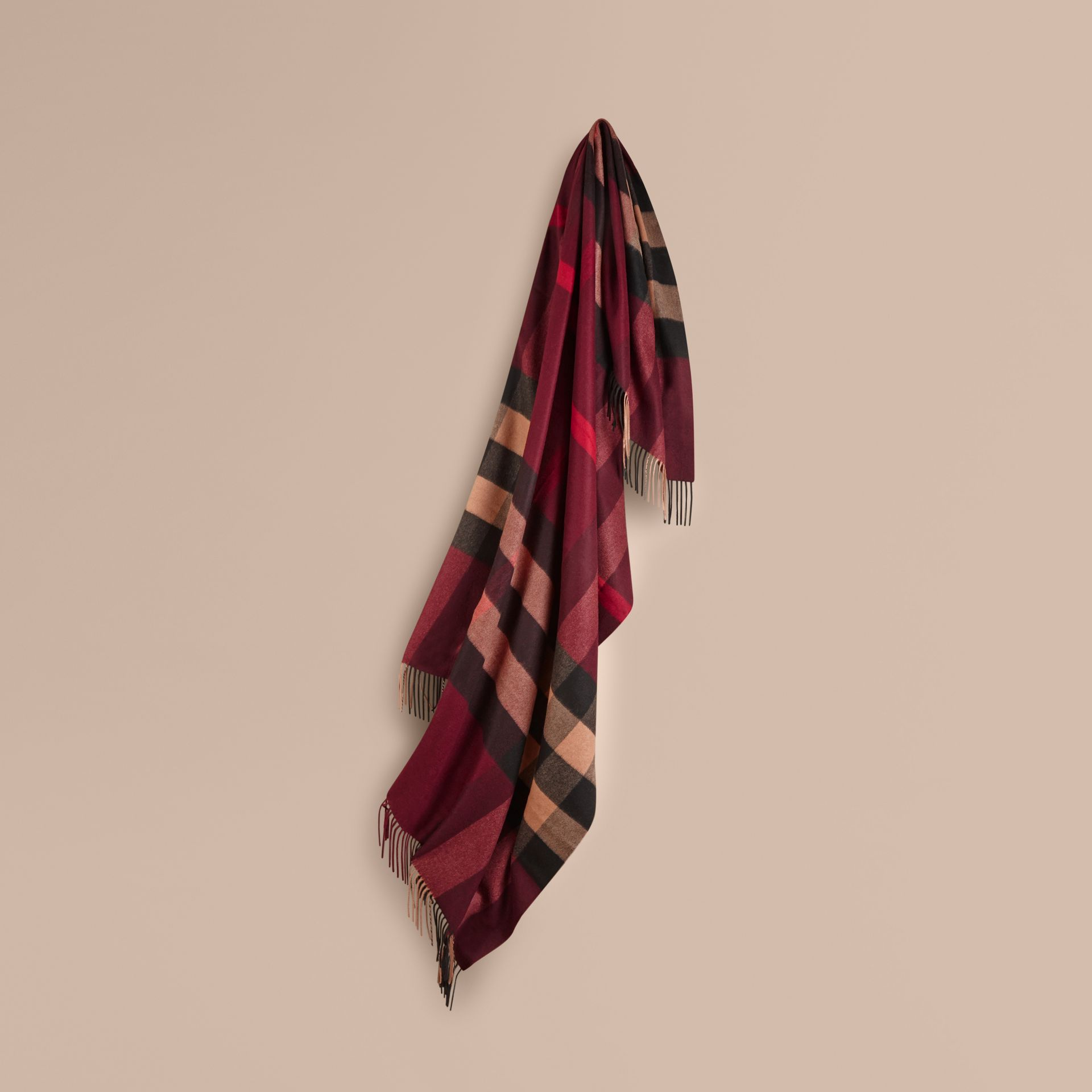 Check Cashmere Blanket in Claret | Burberry United Kingdom - gallery image 0
