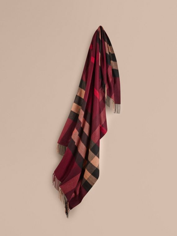 Check Cashmere Blanket in Claret