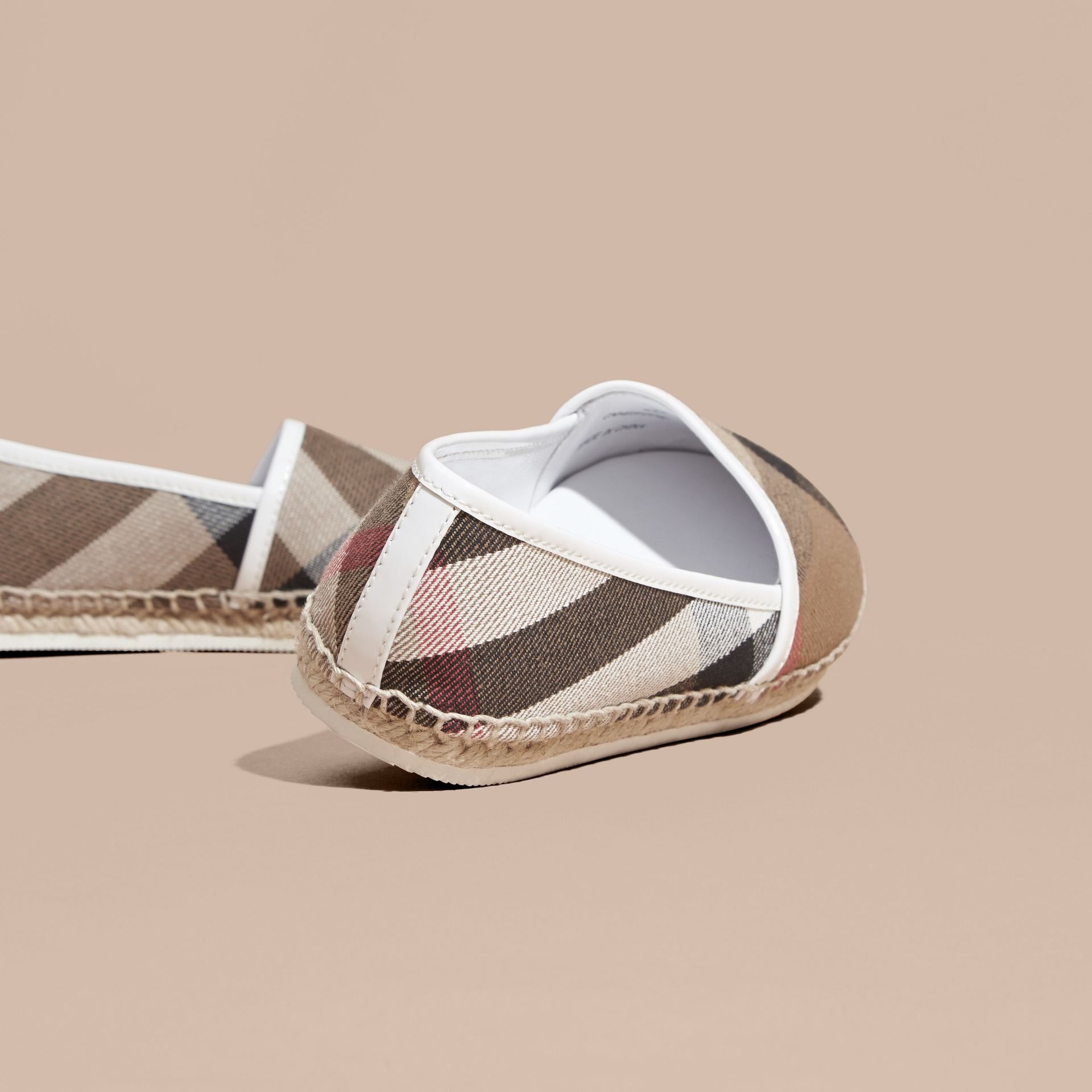 House Check Cotton Canvas Espadrilles in Optic White - Girl | Burberry - gallery image 4