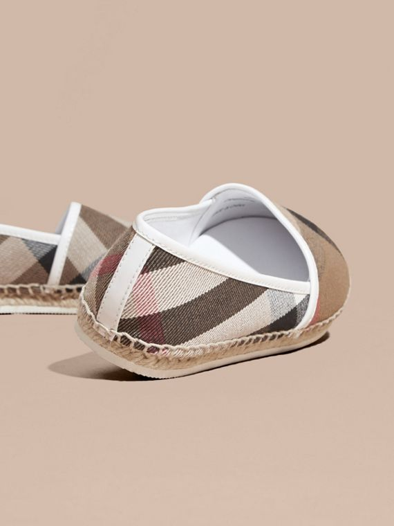 House Check Cotton Canvas Espadrilles in Optic White - Girl | Burberry - cell image 3