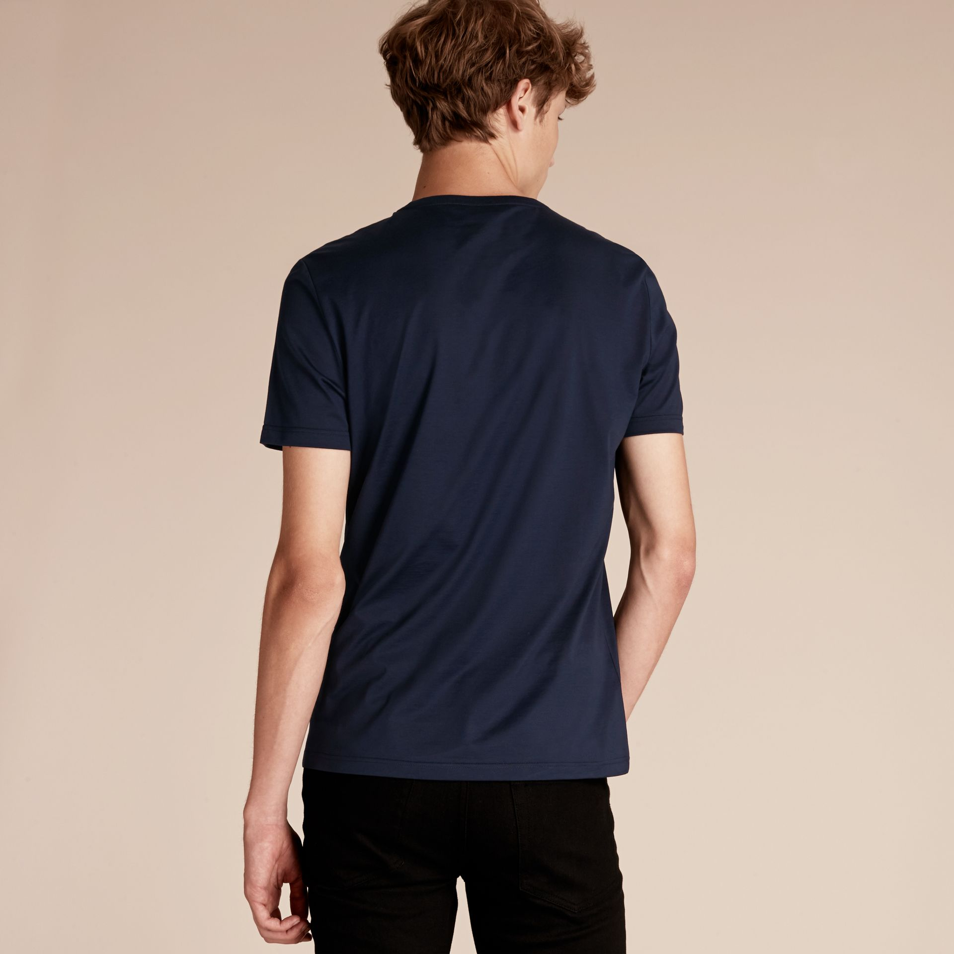 Navy Cotton T-shirt with Sequin Stripe Detail Navy - gallery image 3