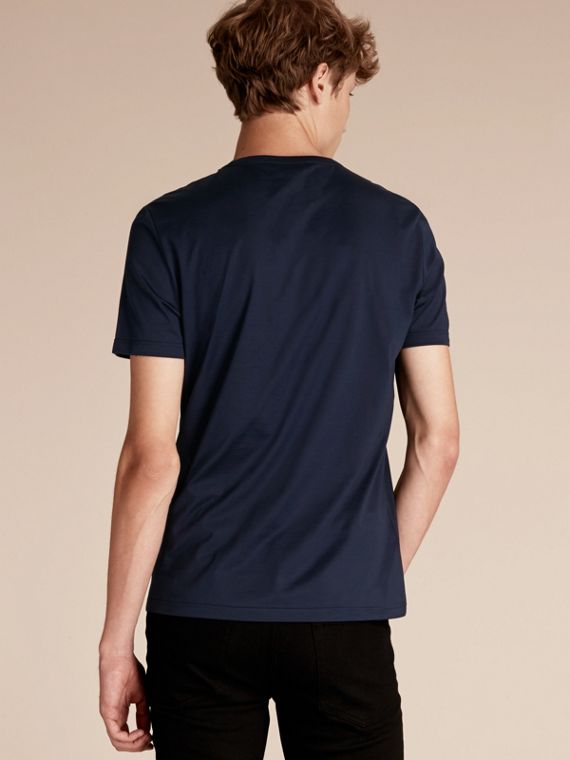 Navy Cotton T-shirt with Sequin Stripe Detail Navy - cell image 2