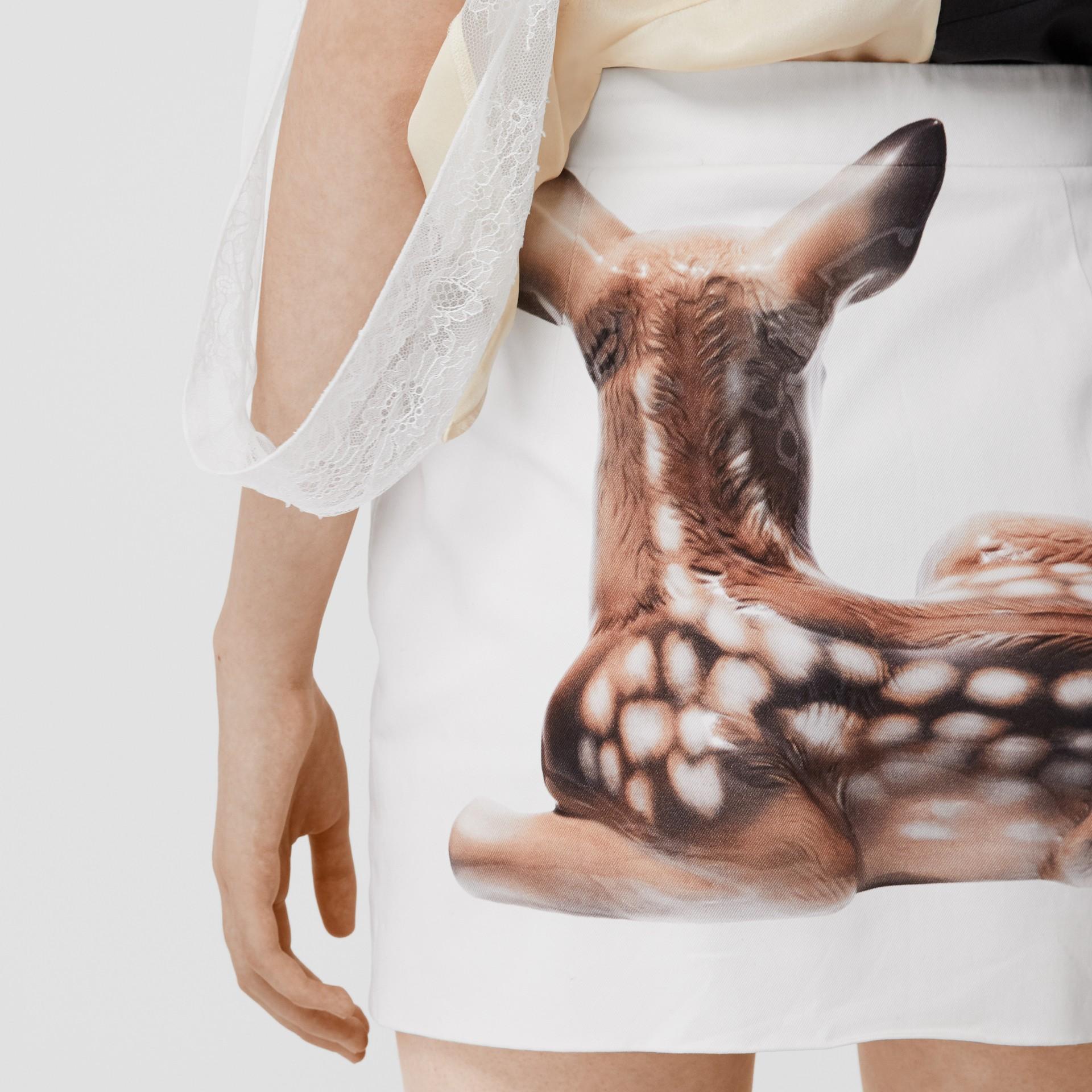 Deer Print Stretch Denim Mini Skirt in White - Women | Burberry - gallery image 4