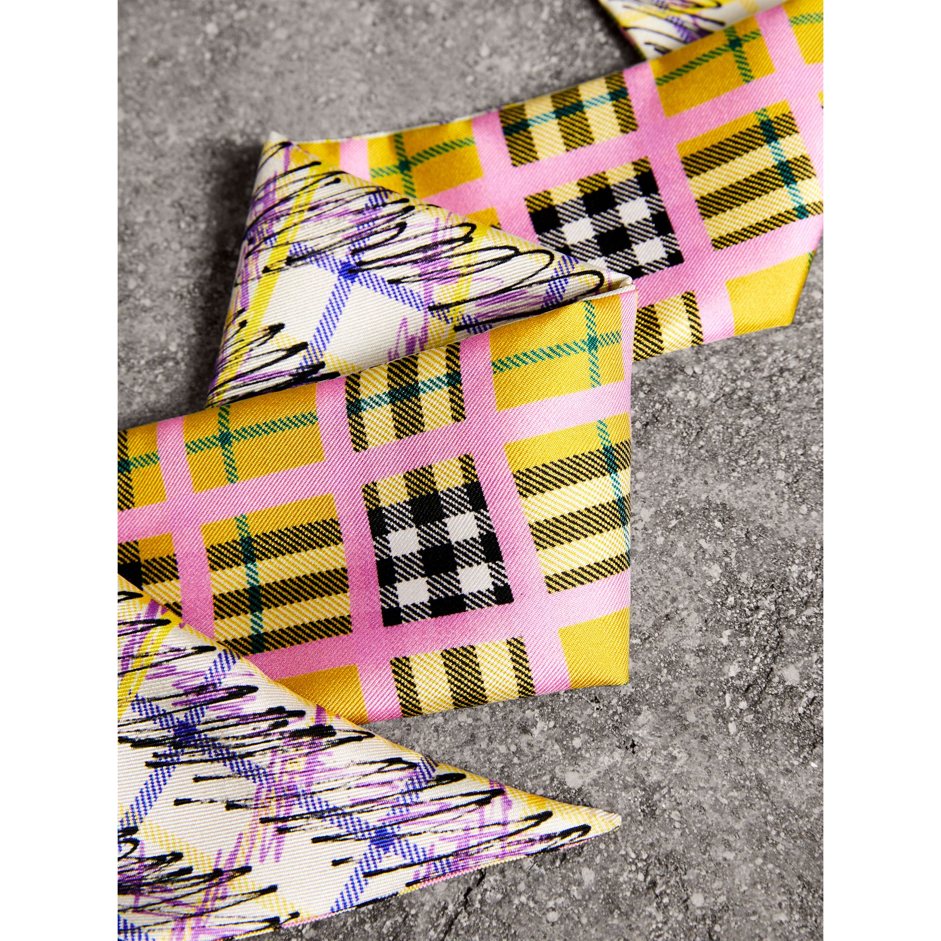 Scribble Check Silk Slim Scarf in Bright Yellow - Women | Burberry - gallery image 1