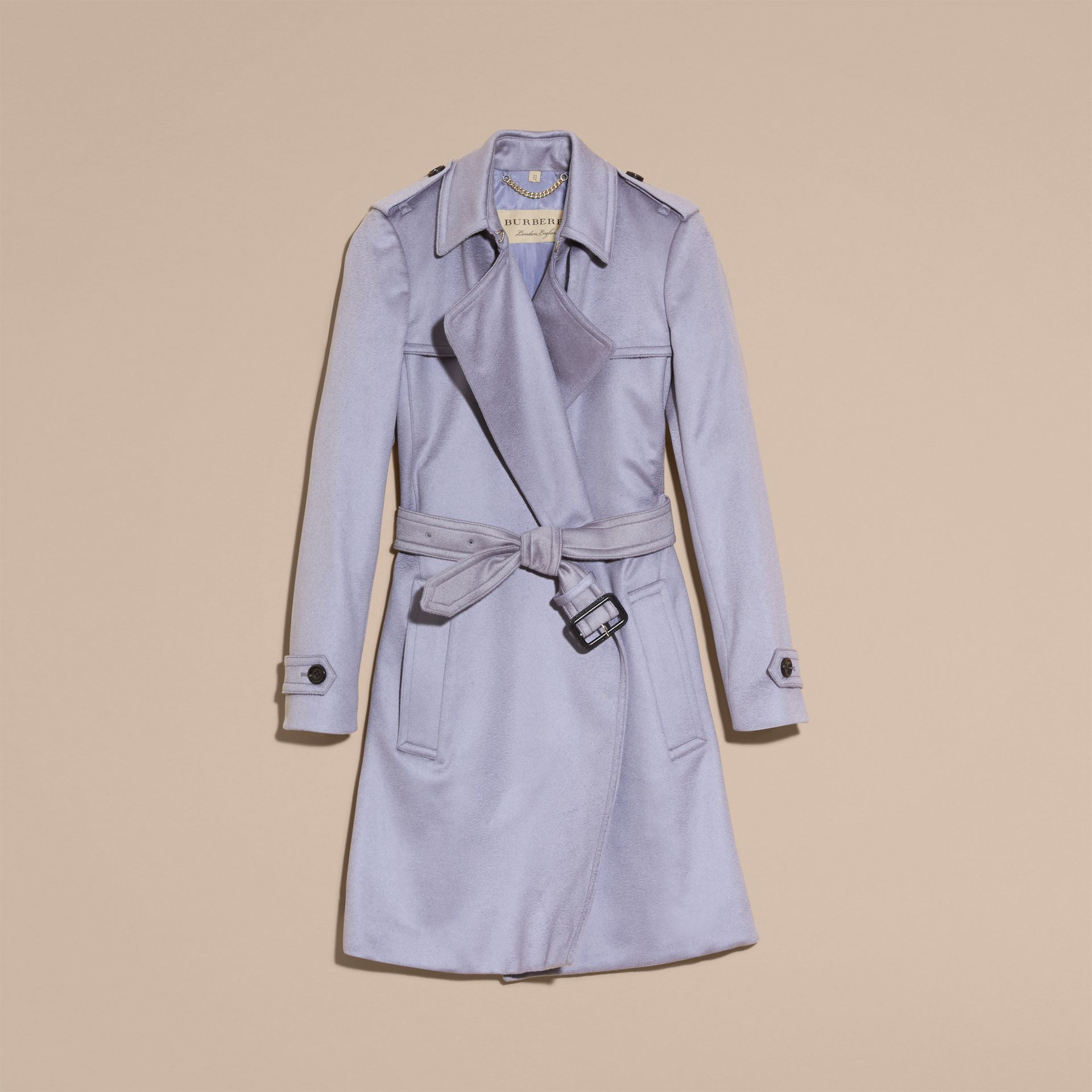 Cashmere Wrap Trench Coat in Dusty Blue - gallery image 4