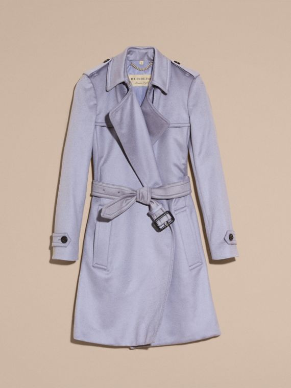 Cashmere Wrap Trench Coat in Dusty Blue - cell image 3