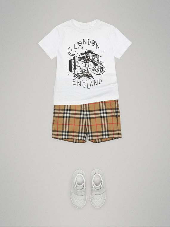 Vintage Check Cotton Tailored Shorts in Antique Yellow - Boy | Burberry - cell image 2