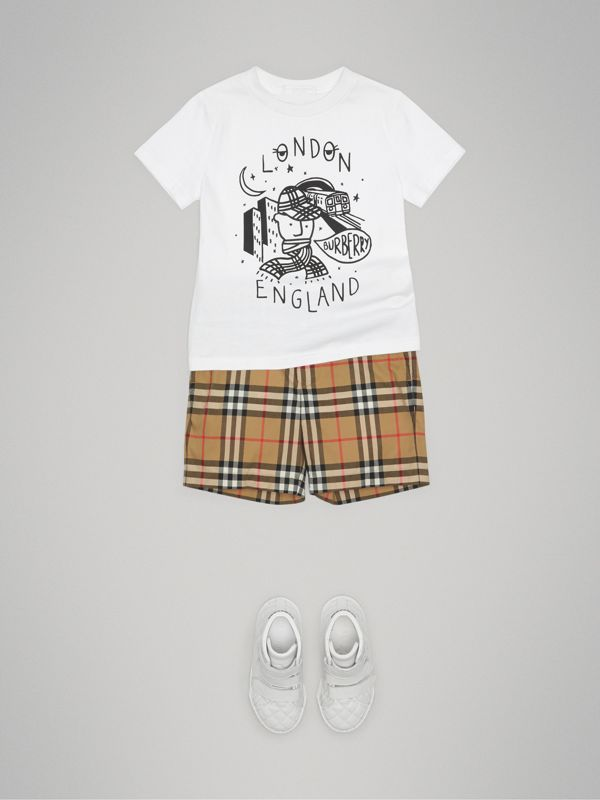 Vintage Check Cotton Tailored Shorts in Antique Yellow | Burberry United Kingdom - cell image 2