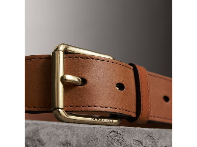 Horseferry Check and Leather Belt in Tan - Men | Burberry United Kingdom - cell image 1