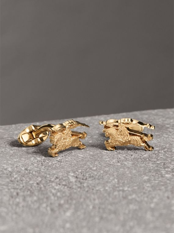 Equestrian Knight Cufflinks in Light Gold