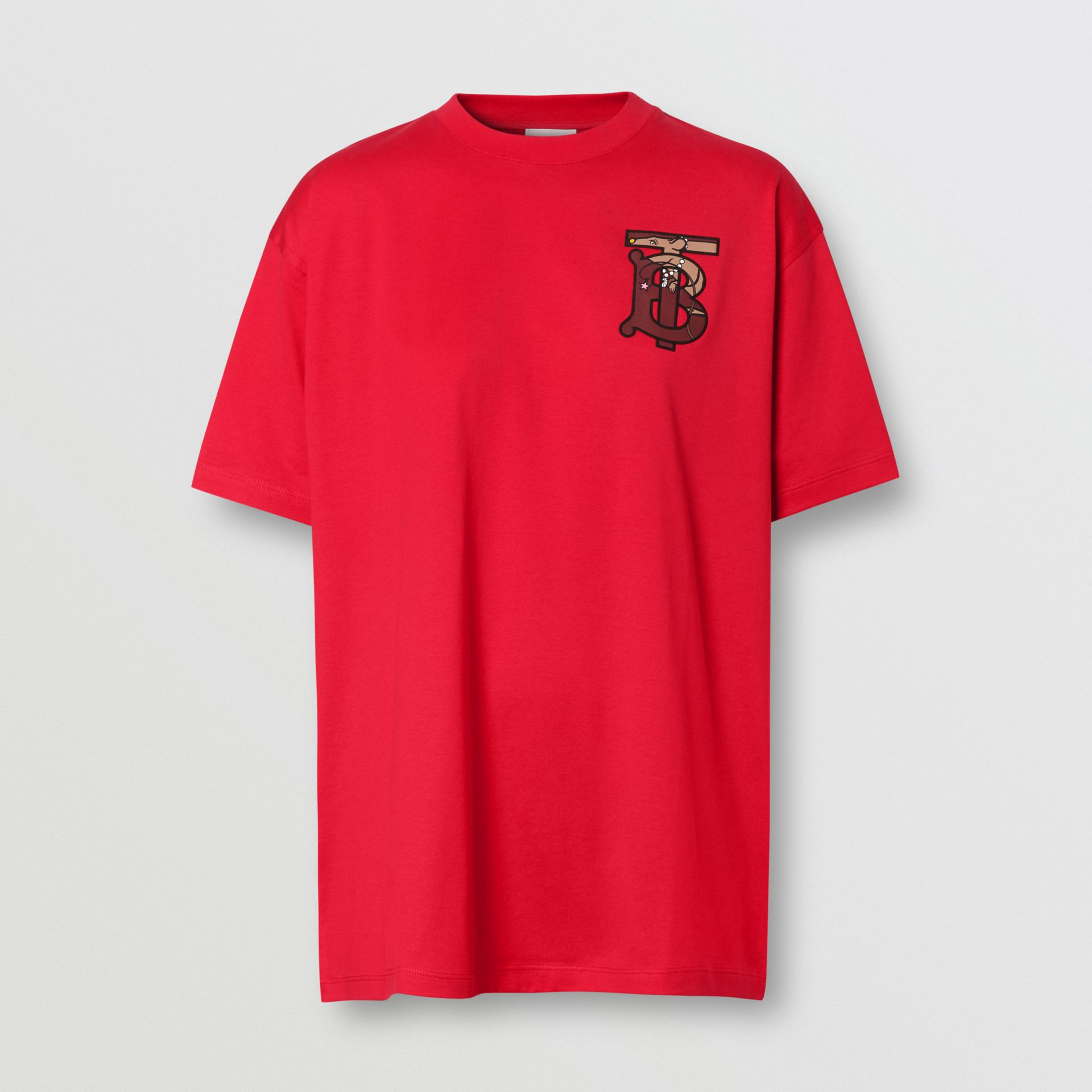 Monogram Motif Cotton Oversized T-shirt in Bright Red - Women | Burberry United Kingdom - gallery image 3