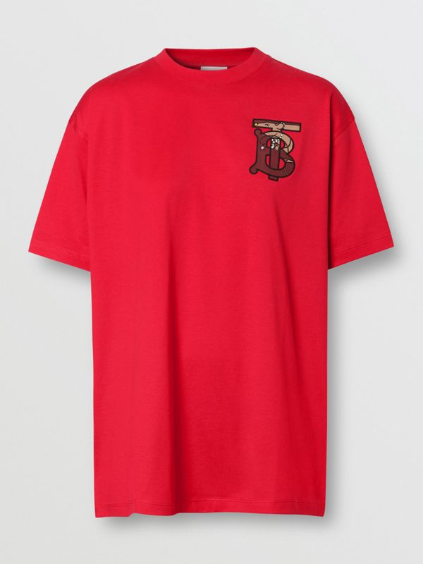 Monogram Motif Cotton Oversized T-shirt in Bright Red - Women | Burberry - cell image 3