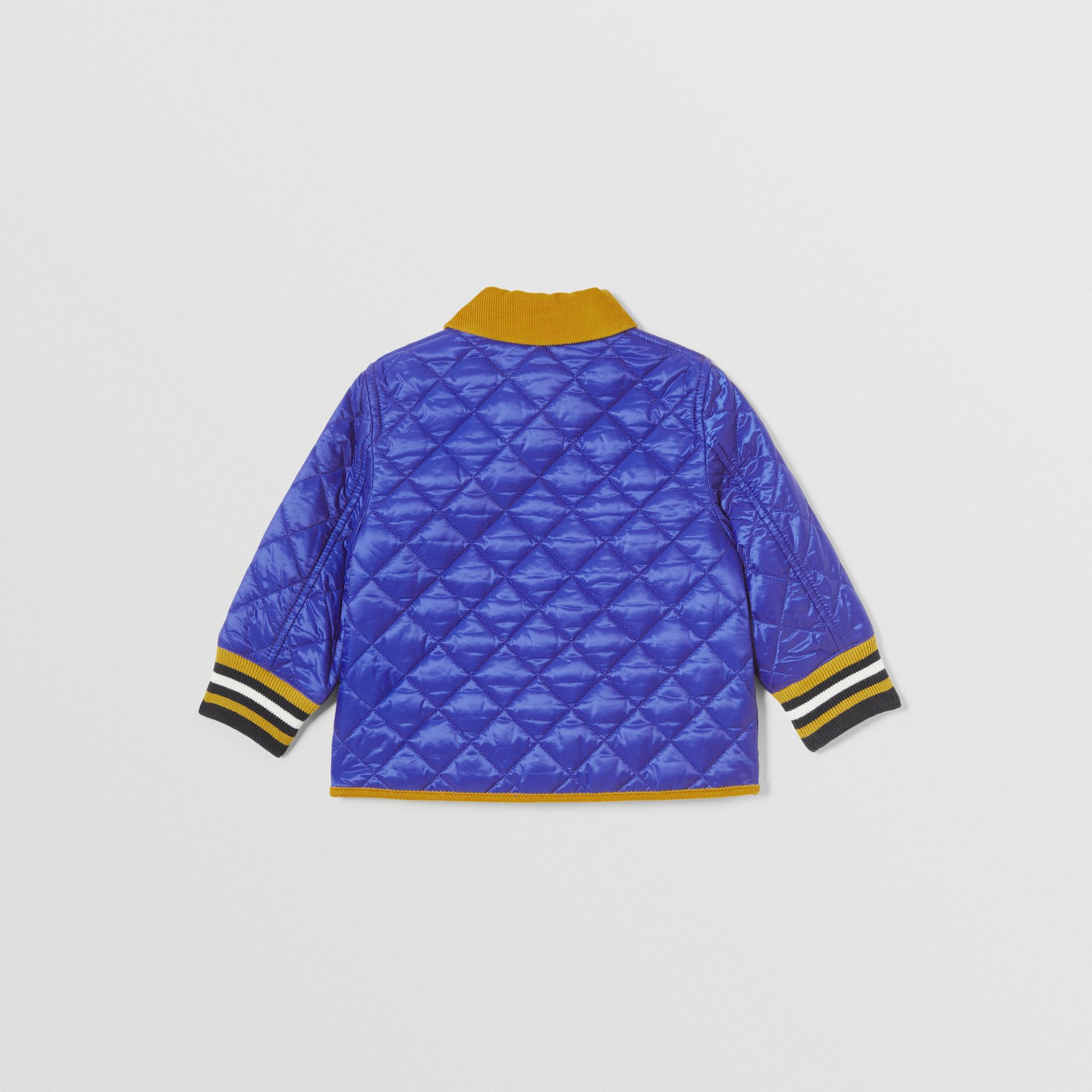 Corduroy Trim Lightweight Diamond Quilted Jacket in Dark Cobalt Blue - Children | Burberry United Kingdom - gallery image 4
