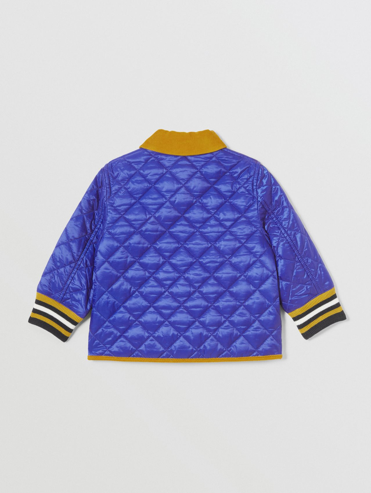 Corduroy Trim Lightweight Diamond Quilted Jacket in Dark Cobalt Blue
