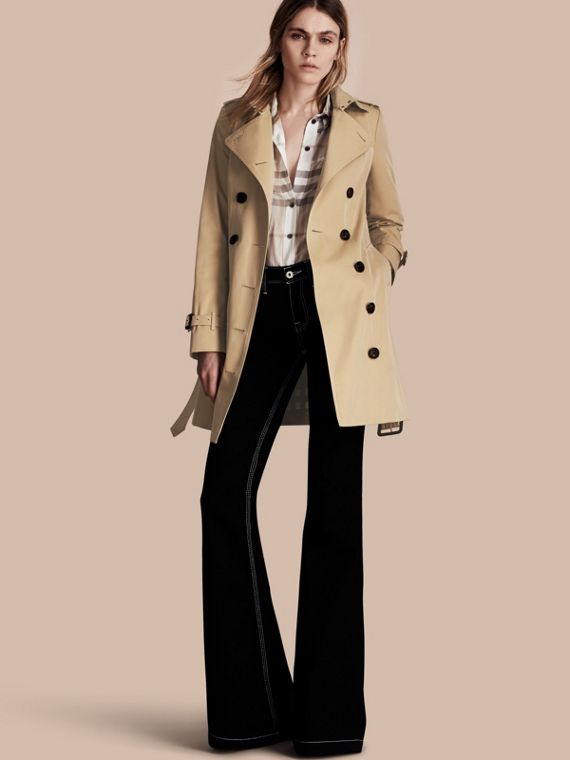 Trench coat Sandringham - Trench coat Heritage de longitud media Miel