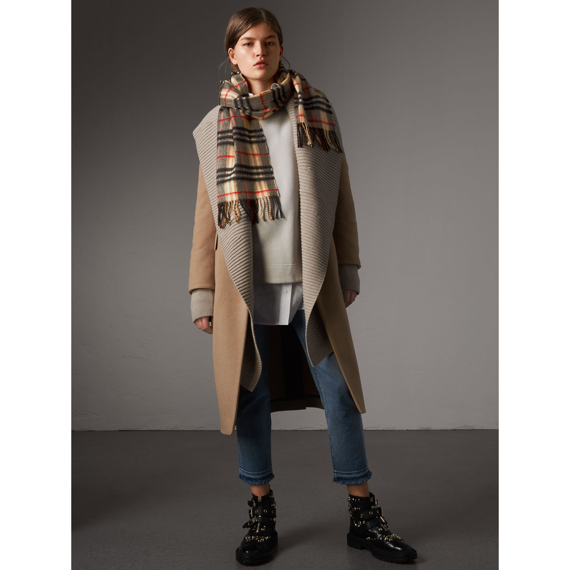 Check Cashmere Scarf in Camel | Burberry United Kingdom - gallery image 2