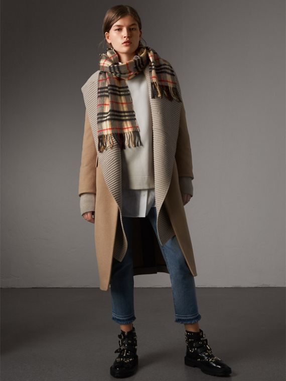 Detachable Rib Knit Collar Cashmere Coat in Camel