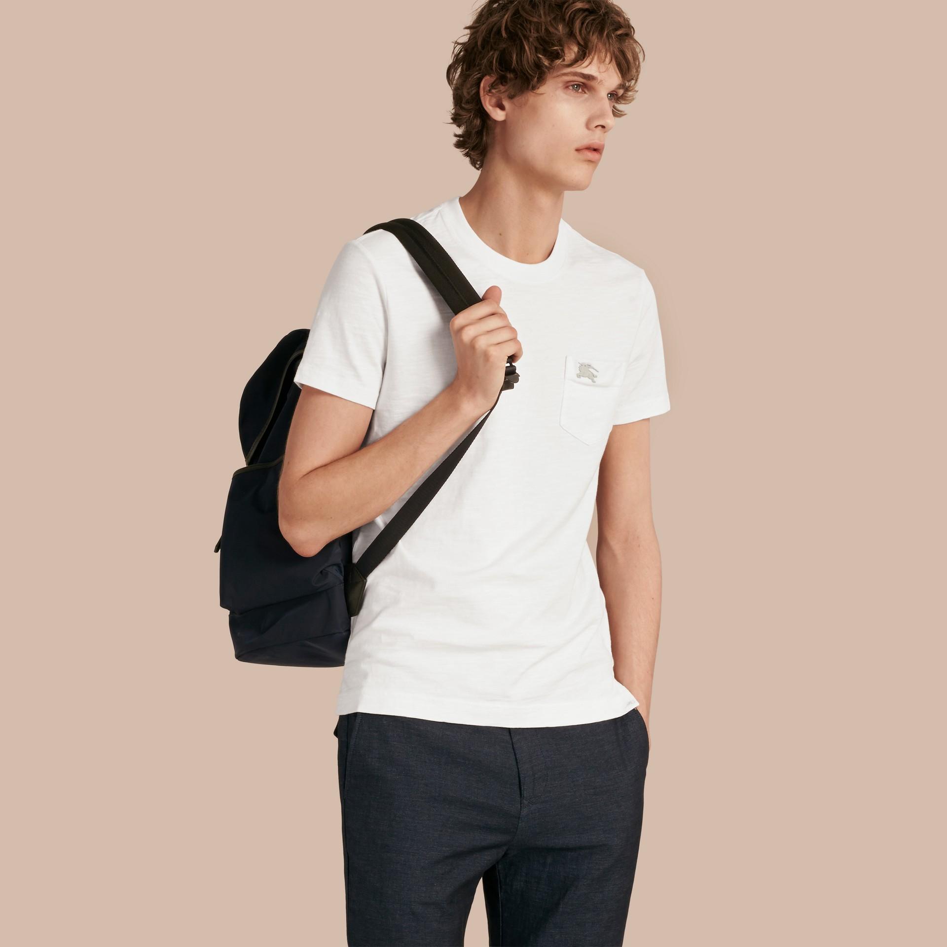 ホワイト スラブジャージー ダブルダイド Tシャツ ホワイト - ギャラリーイメージ 1
