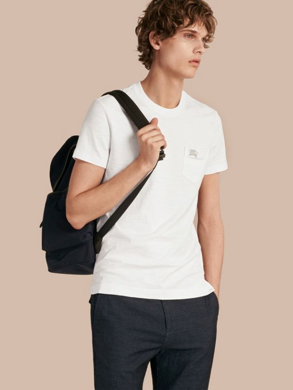 T-shirt in jersey fiammato a doppia tintura Bianco