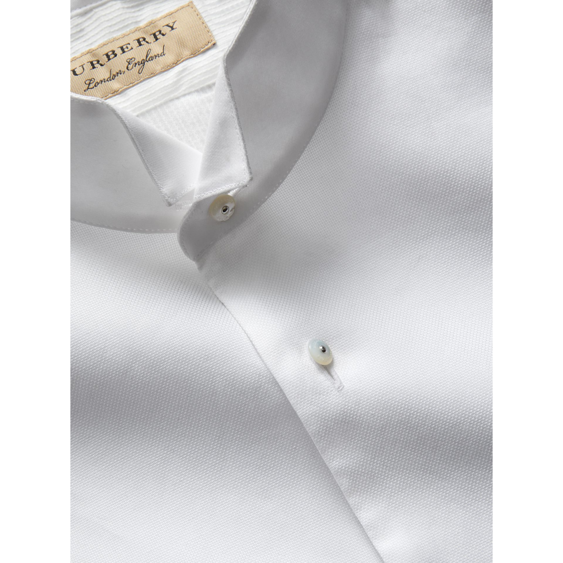 Modern Fit Panelled Bib Cotton Silk Evening Shirt in White - Men | Burberry - gallery image 1