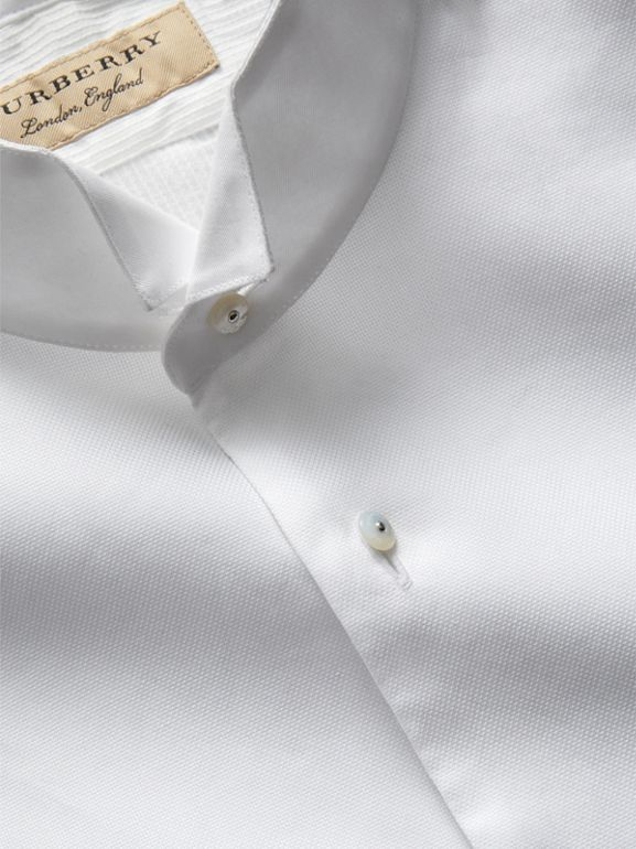 Modern Fit Panelled Bib Cotton Silk Evening Shirt in White - Men | Burberry - cell image 1