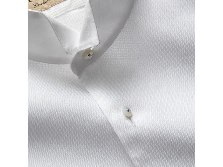 Modern Fit Panelled Bib Cotton Silk Evening Shirt in White - Men | Burberry United States - cell image 1