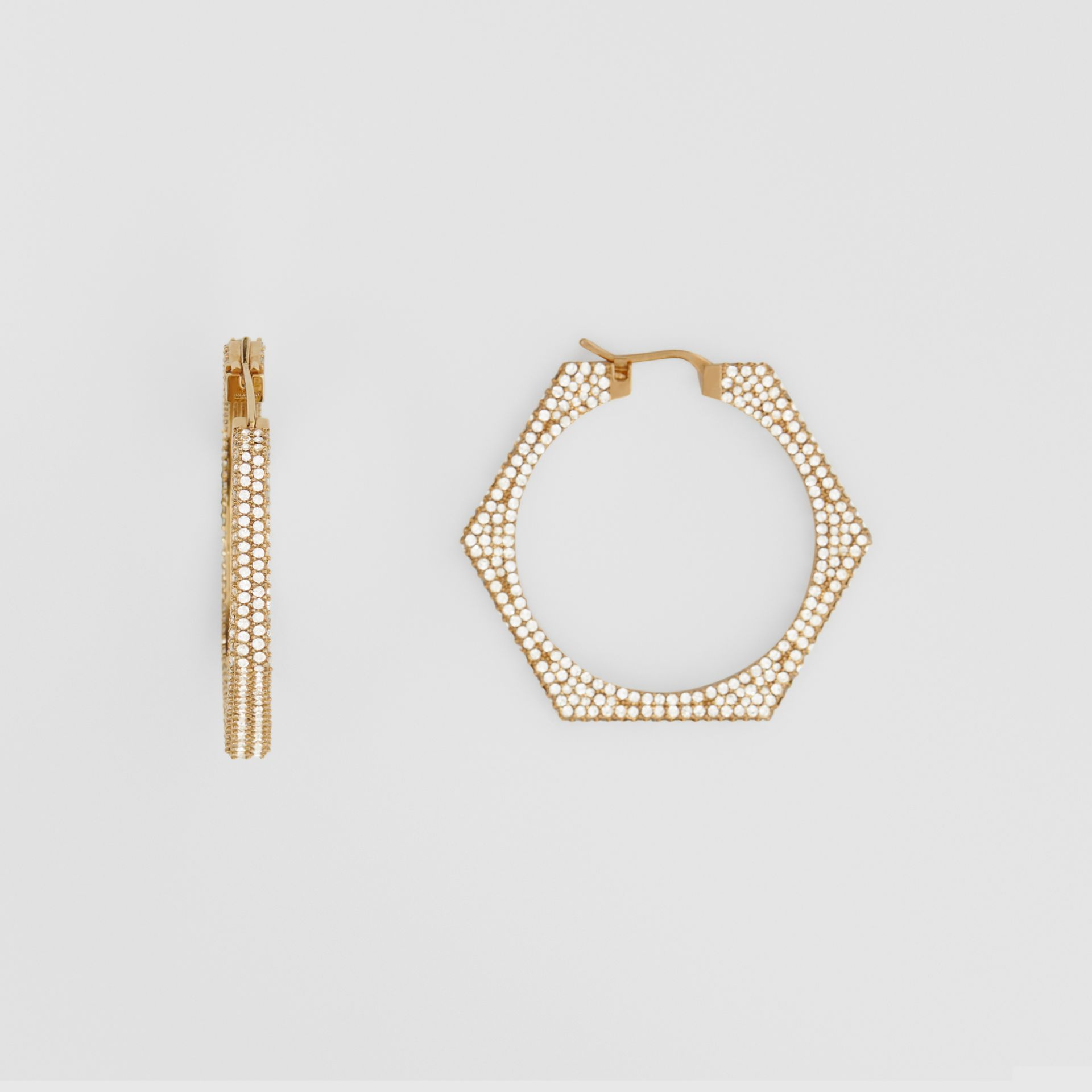 Crystal Detail Gold-plated Nut Hoop Earrings in Light Gold/crystal - Women   Burberry United Kingdom - gallery image 2