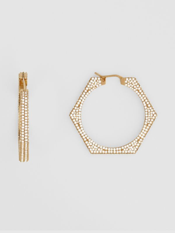Crystal Detail Gold-plated Nut Hoop Earrings in Light Gold/crystal - Women   Burberry United Kingdom - cell image 2