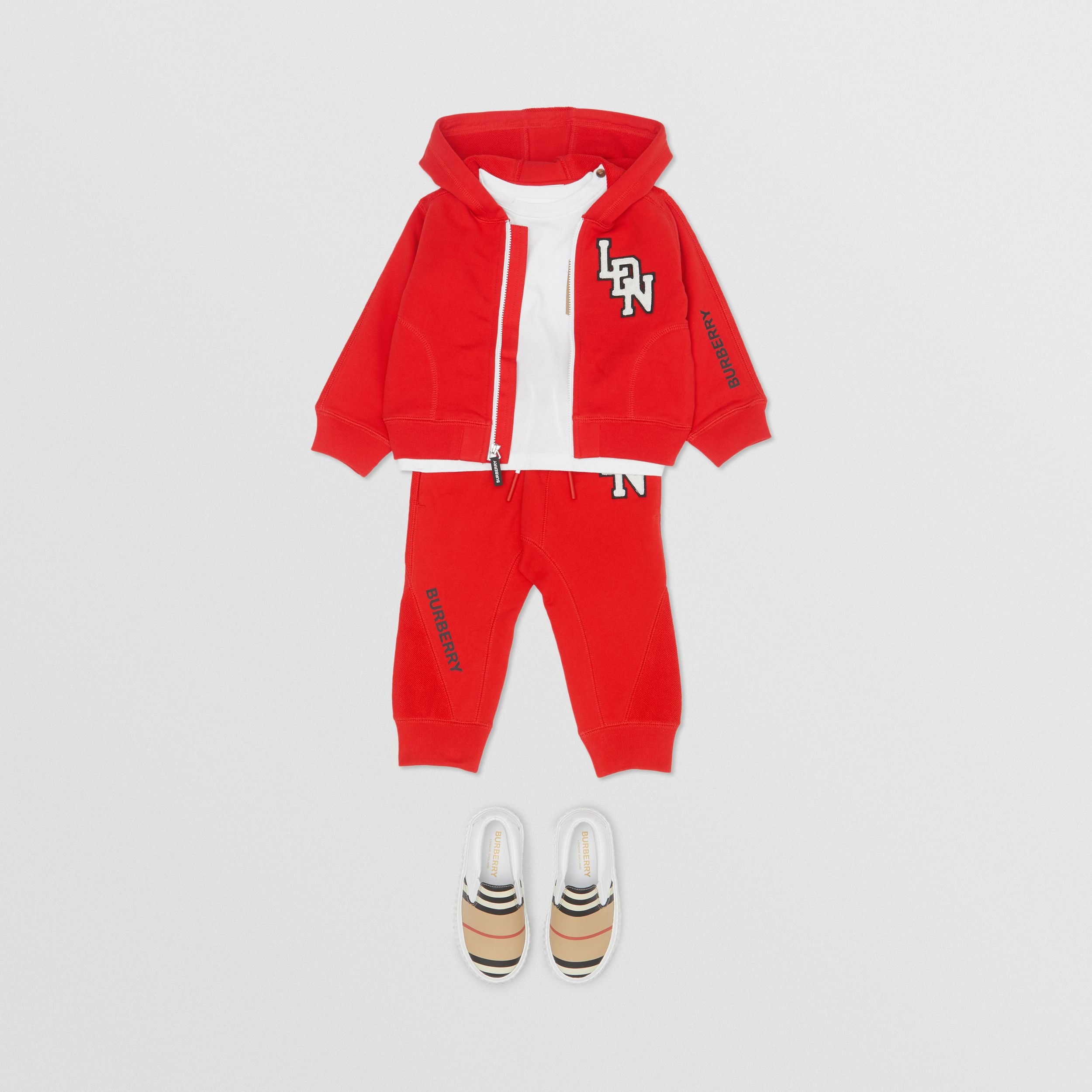 Logo Graphic Cotton Trackpants in Bright Red - Children | Burberry - 3