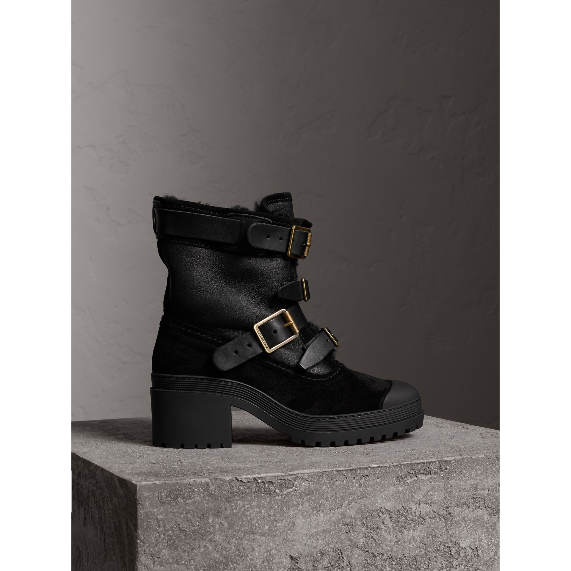 Buckle Detail Suede and Shearling Boots in Black - Women | Burberry - gallery image 1
