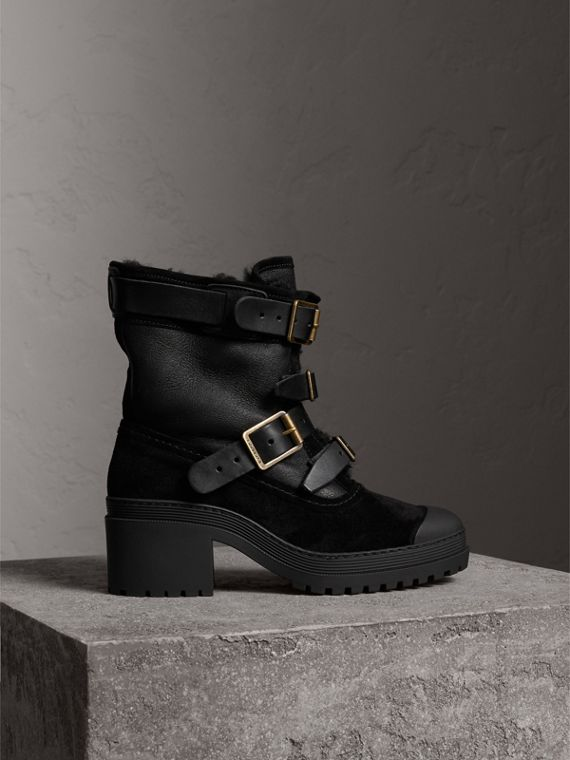 Buckle Detail Suede and Shearling Boots in Black