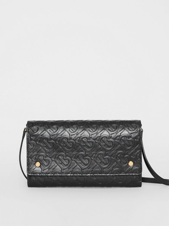 Monogram Leather Wallet with Detachable Strap in Black