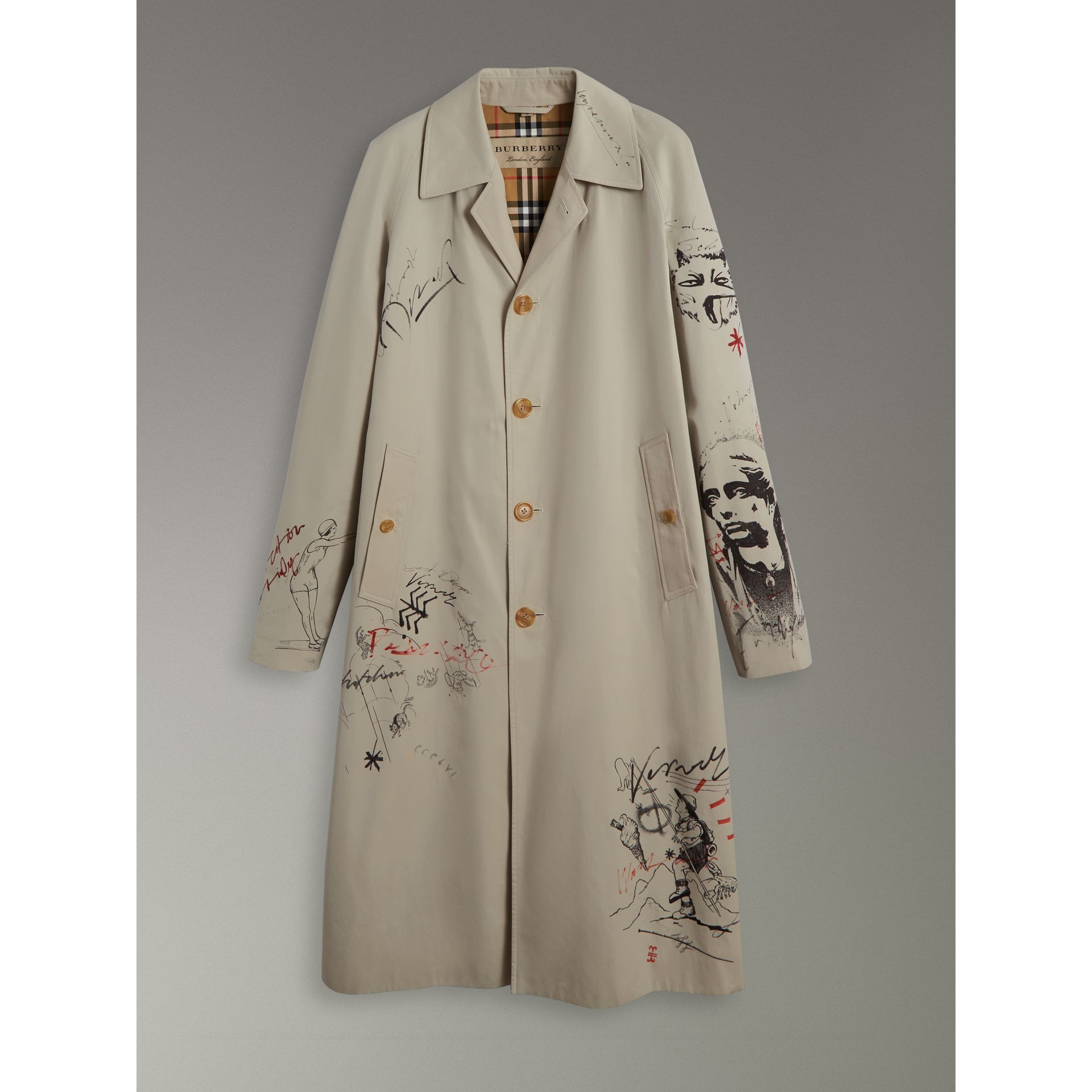Sketch Print Car Coat in Stone - Men | Burberry Singapore - gallery image 3