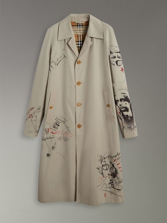Sketch Print Car Coat in Stone - Men | Burberry - cell image 3