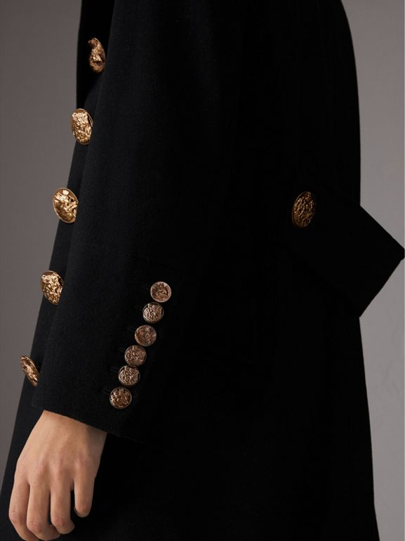 Bird Button Wool Blend Military Coat in Black - Women | Burberry - cell image 1