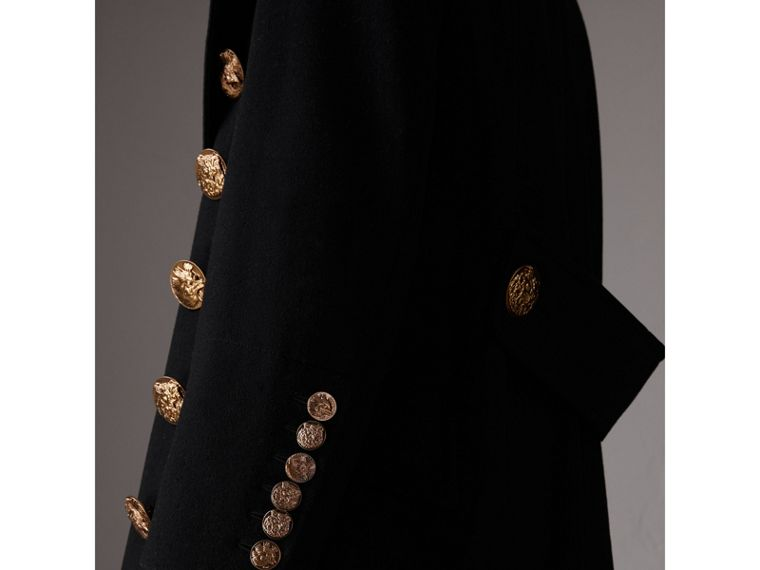 Bird Button Wool Blend Military Coat in Black - Women | Burberry United States - cell image 1